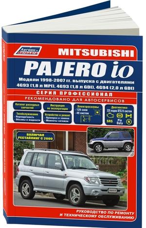 Mitsubishi Pajero iO. Модели 1998-2007 гг. выпуска с двигателями 4G93 (1,8 л MPI), 4G93 (1,8 л GDI), 4G94 (2,0 л GDI). Включая рестайлинговые модели c 2000 года. Серия ПРОФЕССИОНАЛ. Каталог расходных запчастей. Руководство по ремонту и техническому обслуживанию.